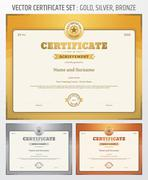 Certificate of achievement template in vector in gold silver and bronze theme - stock illustration
