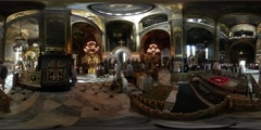 360Vr Video People Wedding Day Vladimir Cathedral Kiev Bride in White Fluffy - stock footage