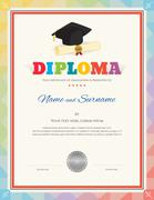 Colorful school kid diploma certificate template in modern style with graduat Stock Illustration