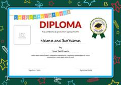 Colorful diploma certificate for kids on green chalk board with kids elements - stock illustration