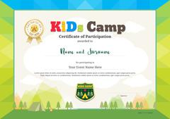 Colorful and modern certificate of partipation for kids activities or kids ca - stock illustration