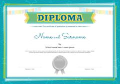 Colorful diploma certificate template for kids in vector Stock Illustration