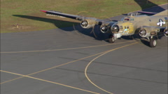 B-17 Flying Fortress Taking Off Stock Footage