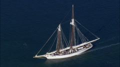 Schooner Leaving Harbour Stock Footage