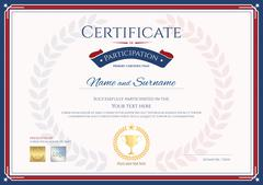 Certificate of participation template in sport theme with gold trophy seal on Stock Illustration