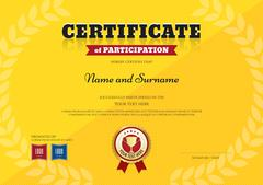 Certificate of participation template in sport yellow theme with triumph laur - stock illustration