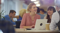 4K Portrait smiling businesswoman brainstorming with colleagues in modern office Stock Footage