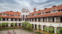 The building of the railway Lawang Sewu company in Semarang. Also one of the Stock Footage