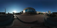 360Vr Video Man Walking by Building of Circus Victory Square City Day Central Stock Footage