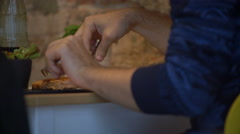 Man Hands Cutting Meat Dish In Cafe Stock Footage