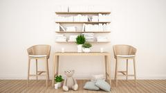 Library and toy in kid room or coffee shop - 3D Rendering Stock Illustration