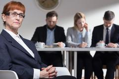 Focus and confidence are essential during job interview - stock photo