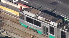 T Trains Passing In Brookline Stock Footage