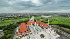 Aerial move above Mosque Masjid Agung Jawa Tengah. 4K Timelapse - Java Stock Footage