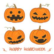 Set of pumpkin for Halloween (Jack 'O Lantern) in various styles vector forma - stock illustration