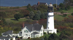 Two Lights Lighthouse Stock Footage