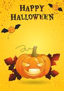 Halloween party poster eat drink and be scary vector illustration - stock illustration