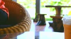 Moving scene ice milk tea on table. Stock Footage