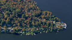 Lake Candlewood Around Quantz Cove Stock Footage