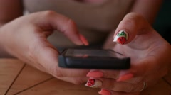 Girl fingers closeup typing sliding smart phone chatting in social media Stock Footage