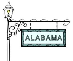 Alabama retro pointer lamppost Stock Illustration