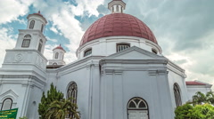 View from the street on the GPIB Immanuel in Semarang. 4K Timelapse - Java Stock Footage