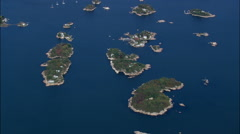 Thimble Islands From High Up Stock Footage