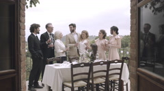 Family and friends celebrating marriage Stock Footage