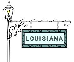Louisiana retro pointer lamppost. Louisiana state America touris Stock Illustration