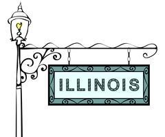 Illinois retro pointer lamppost Stock Illustration