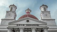 Gereja Blenduk church GPIB Immanuel , Semarang, Central Java, Indonesia. 4K Stock Footage