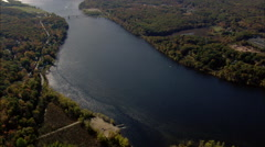 Connecticut River And East Haddam Bridge Stock Footage