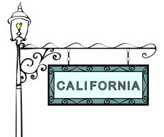 California retro pointer lamppost Stock Illustration