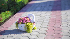 Decorative swan with flowers Stock Footage