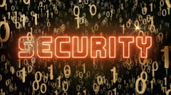 Golden Security concept with digital code Stock Footage