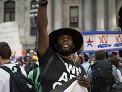 Black Lives Matter Protesters at DNC 2016 in Philadelphia Stock Photos