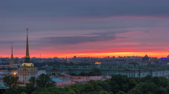 Sunrise over historic center from the colonnade of St. Isaac's Cathedral Stock Footage