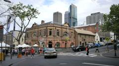 Australia Sydney corner with people in street Stock Footage