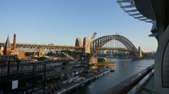 Australia Sydney Harbour Bridge and terminal viewed from ship balcony Stock Footage