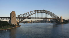 Australia Sydney Harbour Bridge from ship with bird flying over Stock Footage
