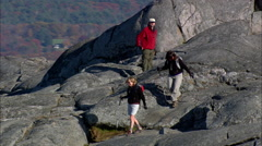 Climbers On Monadnock Mountain Stock Footage
