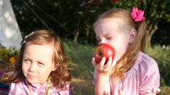Two little cute child girls portrait funny eat red apples on nature picnic Stock Footage