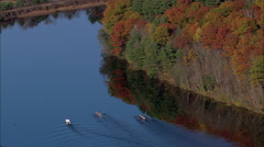 Rowing Eights On Connecticut River Stock Footage