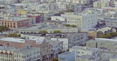 Aerial of San Francisco city skyline and coit tower at sunset Stock Footage