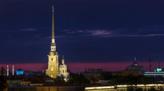 The Peter & Paul Fortress night timelapse,the original citadel of St.Petersburg Stock Footage