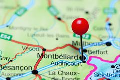 Audincourt pinned on a map of France Stock Photos
