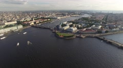 Aerial cinematic view of st. Petersburg city. Neva river panorama. Rostral Colum Stock Footage