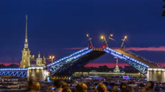 View of the opening Palace Bridge timelapse, which spans - the spire of Peter - stock footage