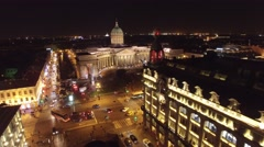 Beautiful night flight in the center of St. Petersburg Russia. Nevsky prospect,  Stock Footage