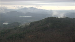 Lakes, Forest And Low Clouds Stock Footage